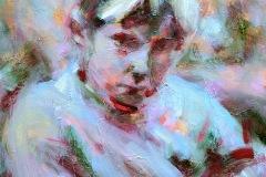 RUCHER - Le petit garçon boudeur – 60 x 78 cm Huile sur toile