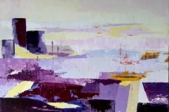 Christian DELAVELLE -Vaisseaux - 73 x 50 cm Acrylique