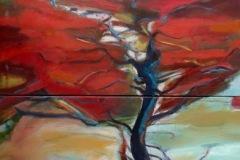 Françoise BIESSE-DEBOS - Octobre rouge – 146 X 73  cm Huile sur toile