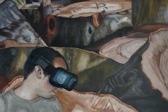 MAUS - Réalité virtuelle et-nature écorchée – 81 x 60 cm Huile sur bois