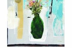 Pic.A - Cruche fleurs et traces - 80x70 Acrylique sur carton