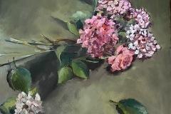 Géraldine MORALES - Hortentia 2. - 80x80 Huile sur toile