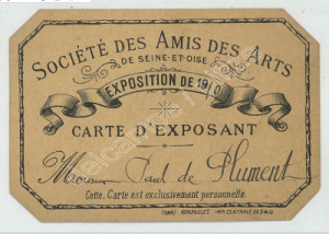 svaif - carte d'exposant 1910